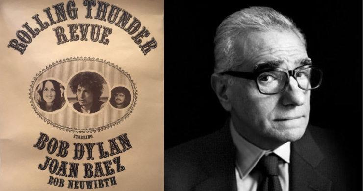 """Izquierda: afiche de """"Rolling Thunder Revue"""" de 1975. Derecha: Martin Scorsese, aclamadísimo Director y próximo a dirigir el documental de Bob Dylan con el mismo nombre de su gira más conocida."""