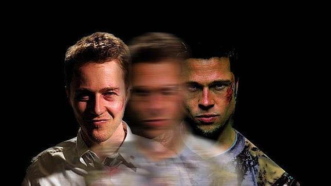 Izquierda: Edward Norton. Derecha: Brad Pitt. En el centro, una fusión de ellos, una imagen que representa todo Fight Club.