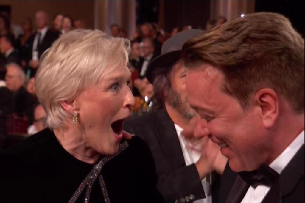 La cara de Glenn Close al enterarse que el premio era de ella