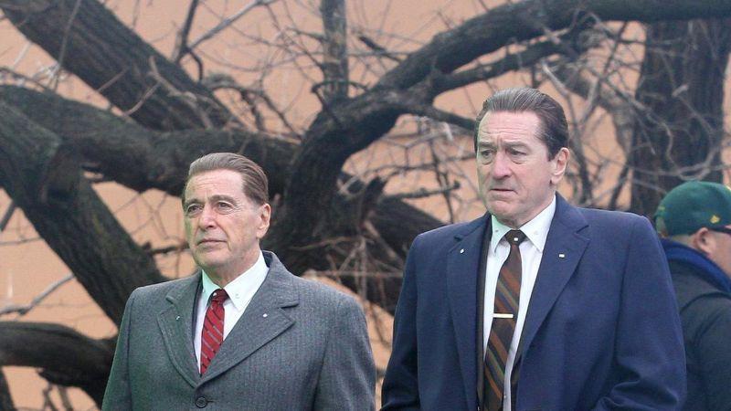 Al Pacino (izquierda) y Robert De Niro (derecha) reunidos, en el set de The Irishman.