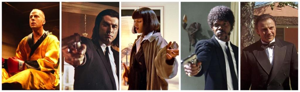 """De Izquierda a Derecha: Butch Coolidge (Bruce Willis), Vincent Vega (John Travolta), Mia Wallace (Uma Thurman), Jules Winnfield (Samuel L. Jackson) y Winston """"The Wolf"""" Wolfe (Harvey Keitel), los personajes más destacados de Pulp Fiction."""