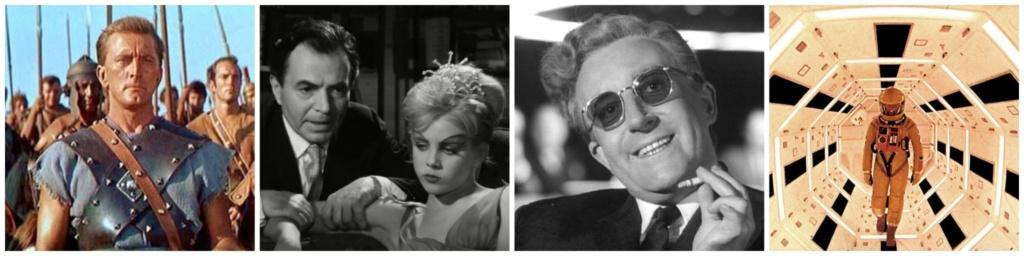 De Izquierda a Derecha: Spartacus (1960), Lolita (1962), Dr. Strangelove (1964) y 2001: A Space Oddyssey.