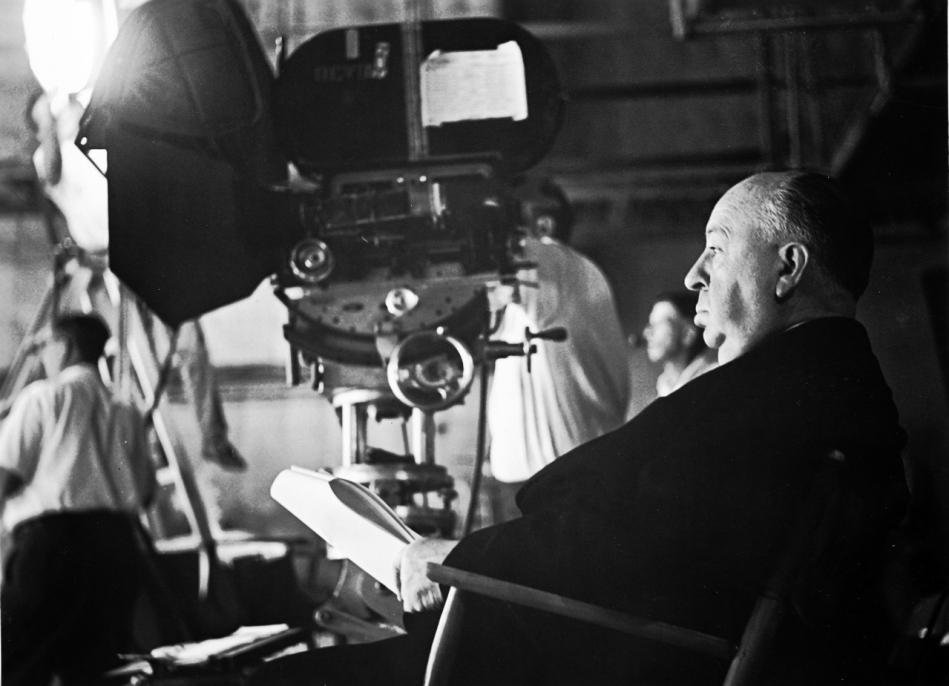 Alfred Hitchcock en set.