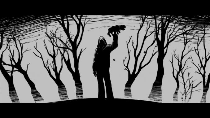 """Secuencia de animación que representa uno de  los """"misterios"""" que aparecen en la película: El asesino de perros."""